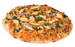 Chicken pizza. A pizza isolated on a white background Royalty Free Stock Photography