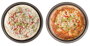 Chicken Pizza. Comparison of a cooked and uncooked chicken pizza, isolated on a white background Stock Image