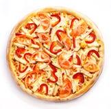Chicken pizza round. Chicken pizza circle on a white background Stock Photo