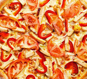 Chicken pizza in the square Stock Image
