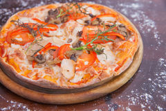 Chicken Pizza on Wooden Background Royalty Free Stock Images