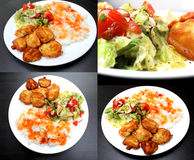 Chicken on a plate with rice and salad - set Stock Image