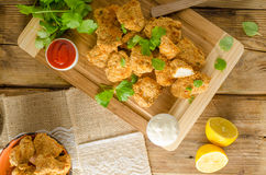 Chicken popcorn with garlic. Two delicious homemade sauce stock images