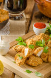 Chicken popcorn with garlic. Two delicious homemade sauce stock image