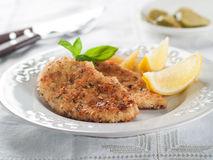 Chicken or pork schnitzel royalty free stock photos