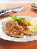 Chicken or pork schnitzel Royalty Free Stock Photos
