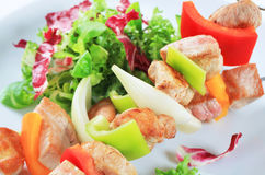Chicken and pork skewers Royalty Free Stock Photos
