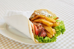 Chicken or pork wrap sandwich Stock Photography