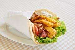 Chicken or pork wrap sandwich Stock Photography