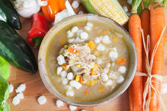 Chicken posole stew Stock Image