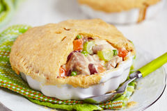 Chicken pot pie. With vegetables royalty free stock photography