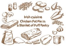 Chicken pot pie in a blanket of putt pastry ingre Royalty Free Stock Photography