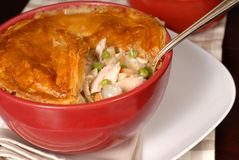 Chicken pot pie with flaky pastry crust Royalty Free Stock Photo