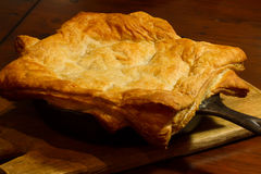 Chicken Pot Pie. Homemade chicken pot pie just baked in an iron skillet Royalty Free Stock Photography