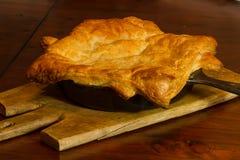 Chicken Pot Pie. Homemade chicken pot pie just baked in an iron skillet Stock Photography