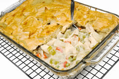 Chicken pot pie. Made with celery, chicken, sweet red peppers, mushrooms, sweet peas and a savory sauce Stock Photography