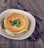 Chicken Pot Pie. In A Plate stock photo