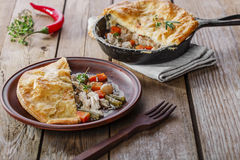 Chicken pot pie. Puff pastry Royalty Free Stock Image