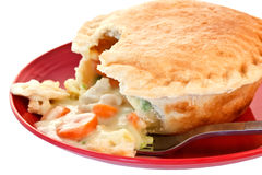 Chicken Pot Pie on Red Plate Stock Photography