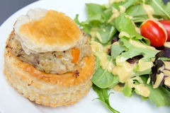 Chicken Pot Pie with Salad Closeup Royalty Free Stock Photos