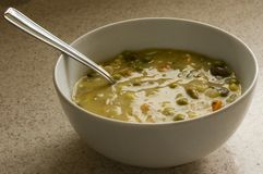 Chicken pot pie soup on kitchen counter Stock Photography