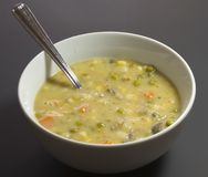 Chicken pot pie soup in white bowl Royalty Free Stock Photography