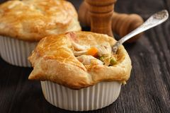 Free Chicken Pot Pie With Carrot, Grean Peas And Cheese. Stock Photo - 130599930