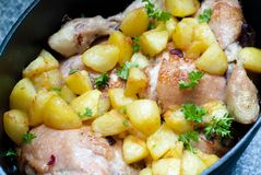 Chicken pot with potatoes Stock Photos