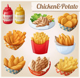 Chicken and potato. Set of cartoon vector food icons. Ketchup, mustard, grilled chicken strips, french fries, chicken fingers, sweet potato fries, nuggets Royalty Free Stock Photos