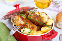 Chicken and potatoes Royalty Free Stock Image