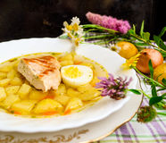 Chicken potatoes soup. Country chicken potatoes vegetables soup Stock Photo