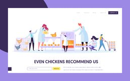 Chicken Poultry Production Factory Machine. Characters Making Egg Machinery Packing Process at Manufacture Line. Flowchart. Equipment. Website Landing Web Page vector illustration
