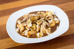 Chicken poutine quebec cuisine Royalty Free Stock Images
