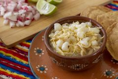 Free Chicken Pozole With Radishes, Lemons And Toast Stock Images - 124515104