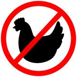 Chicken prohibition warning red circular caution road sign stock images