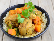 Chicken and pumpkin curry with couscous Royalty Free Stock Photos