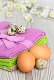 Chicken and quail eggs Stock Photography