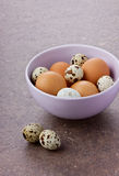 Chicken and quail eggs by Easter in a ceramic bowl. On a brown surface Royalty Free Stock Image