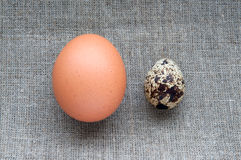 Chicken and quail eggs on hessian linen fabric Royalty Free Stock Photos