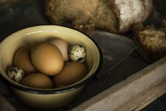 The chicken and quail eggs in metal bowl with bread. In old wooden box Stock Photography
