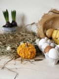 Chicken and quail eggs in packaging, pumpkins, hay, growing hyacinths, Easter concept, holiday preparation, harvest, seasonal holi. Days, village, farm stock photography