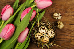 Chicken and quail eggs with tulips. Easter background Royalty Free Stock Photography