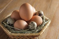 Chicken and quail eggs in a wicker basket, lying on the hay. On stock photos