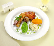 Chicken Quarter With Vegetables Stock Photography