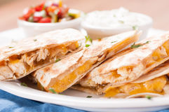Chicken quesadilla with salsa Royalty Free Stock Photos