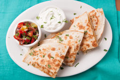 chicken quesadilla with salsa Stock Images