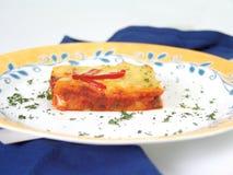 Chicken quiche. On potato bottom stock photography