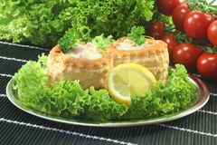 Chicken ragout. Queen pie filled with chicken ragout and fresh herbs Royalty Free Stock Photos