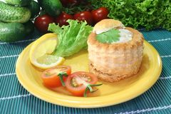 Chicken ragout. Queen pie filled with chicken ragout and fresh herbs Stock Images