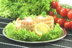 Chicken ragout. Queen pie filled with chicken ragout and fresh herbs Stock Photo